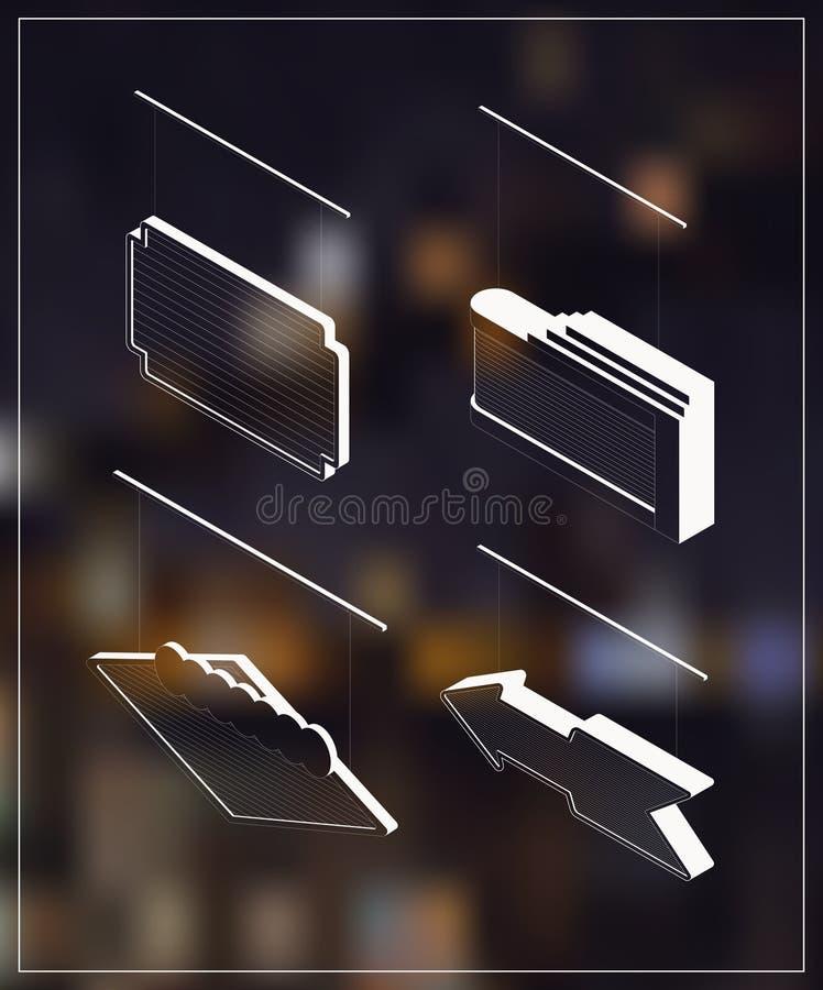 Isometric markiza sztandary ilustracja wektor