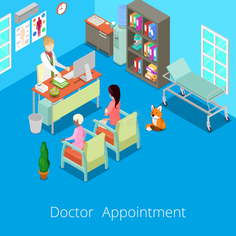 Isometric Medical Cabinet Interior Doctor Appointment with Patient vector illustration