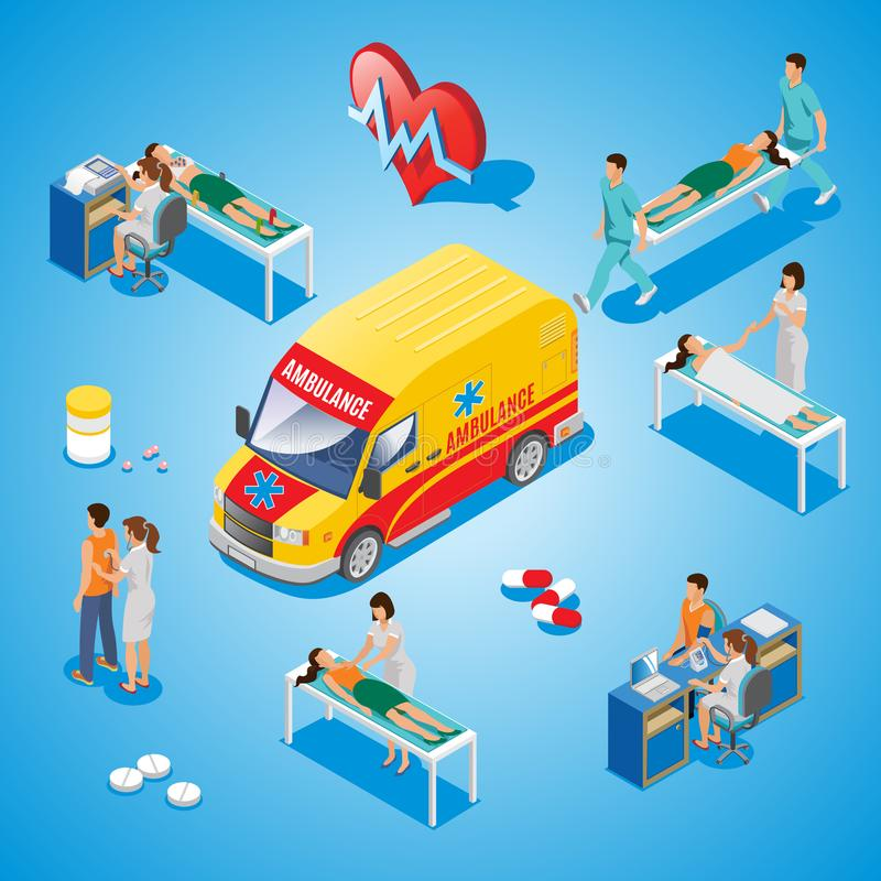 Isometric Medical Care Composition vector illustration