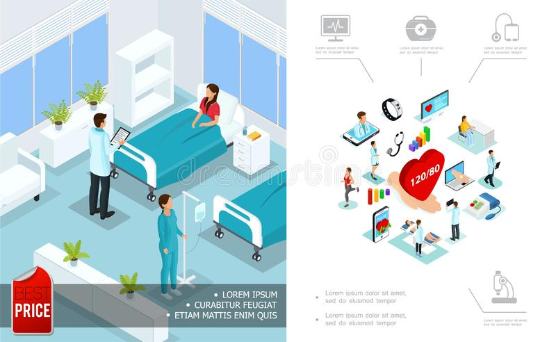 Isometric Medical Care Concept vector illustration