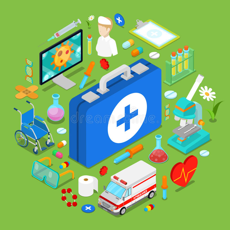 Isometric Medical Health Care Objects. Flat 3d Doctor Pills Chemical Objects stock illustration