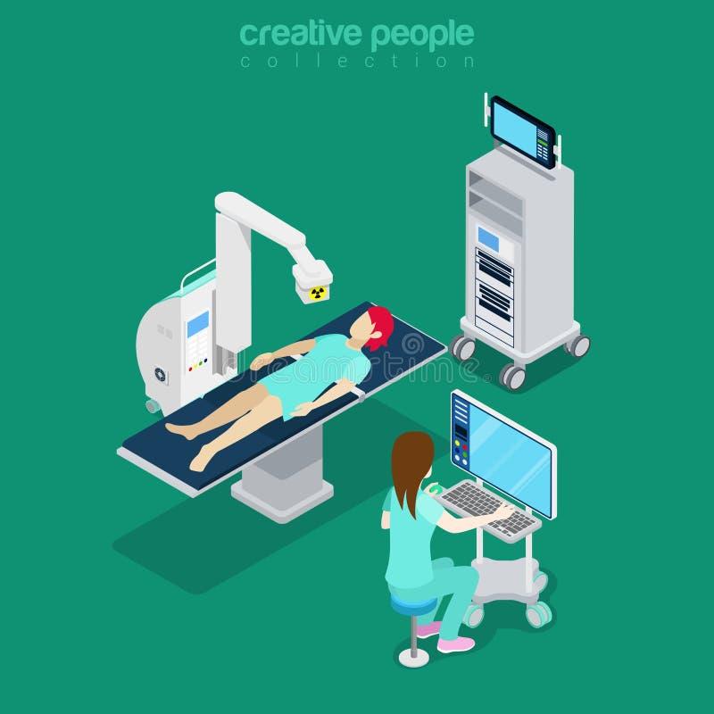 Isometric medical hospital computer doctor Flat 3d royalty free illustration