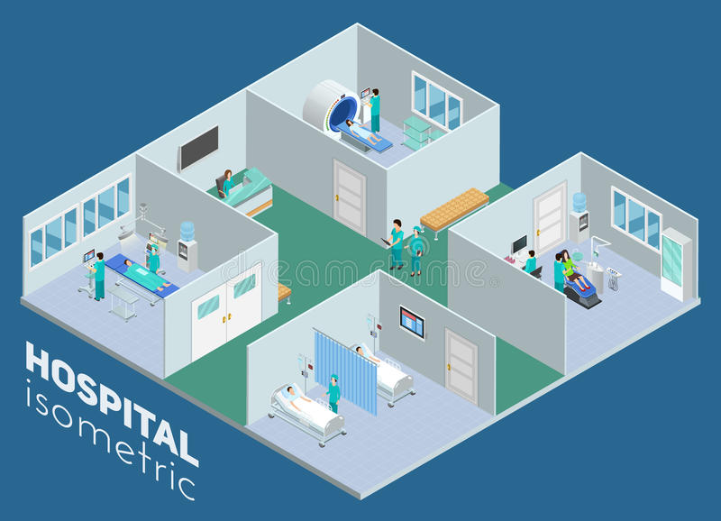 Isometric Medical Hospital Interior View Poster stock illustration