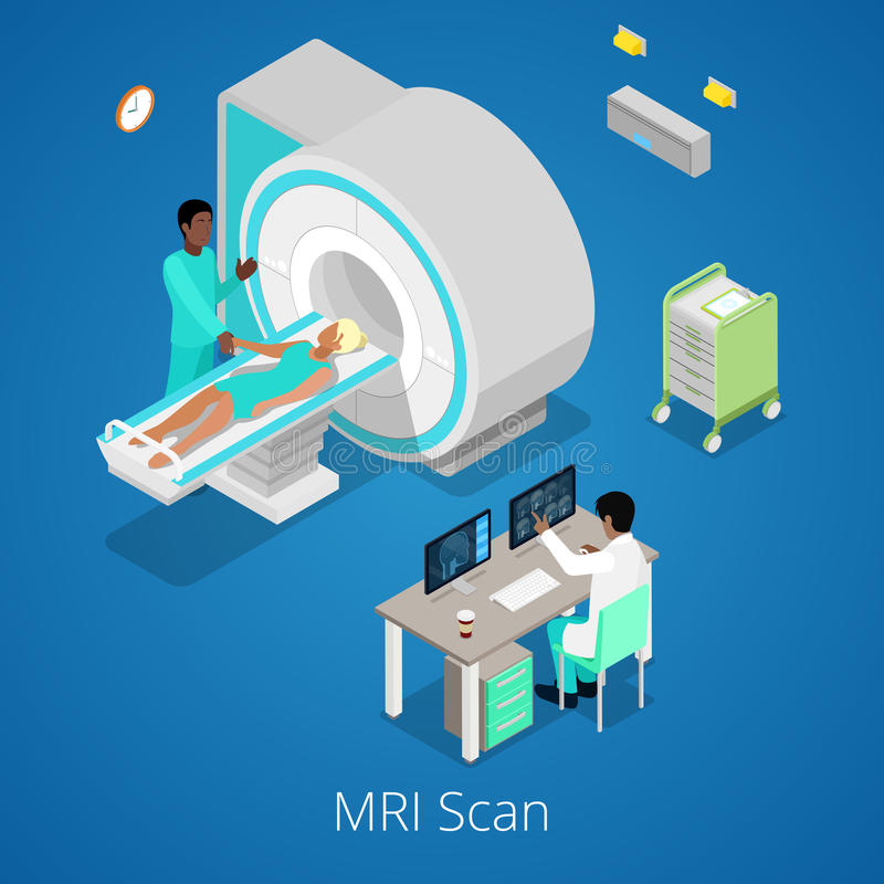 Isometric Medical MRI Scanner Imaging Process with Doctor and Patient stock illustration