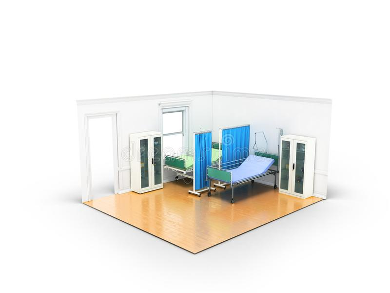 Isometric medical room with two beds for help a locker with medicines 3D render on white background vector illustration