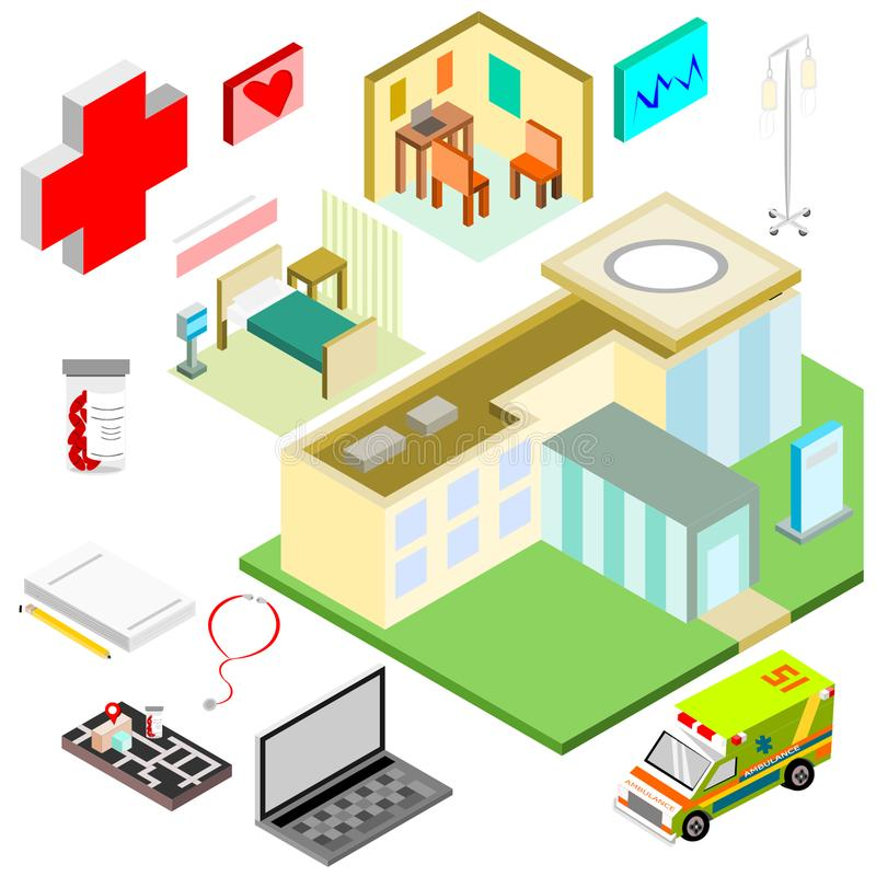 Isometric medicinal icons overview items stock photo