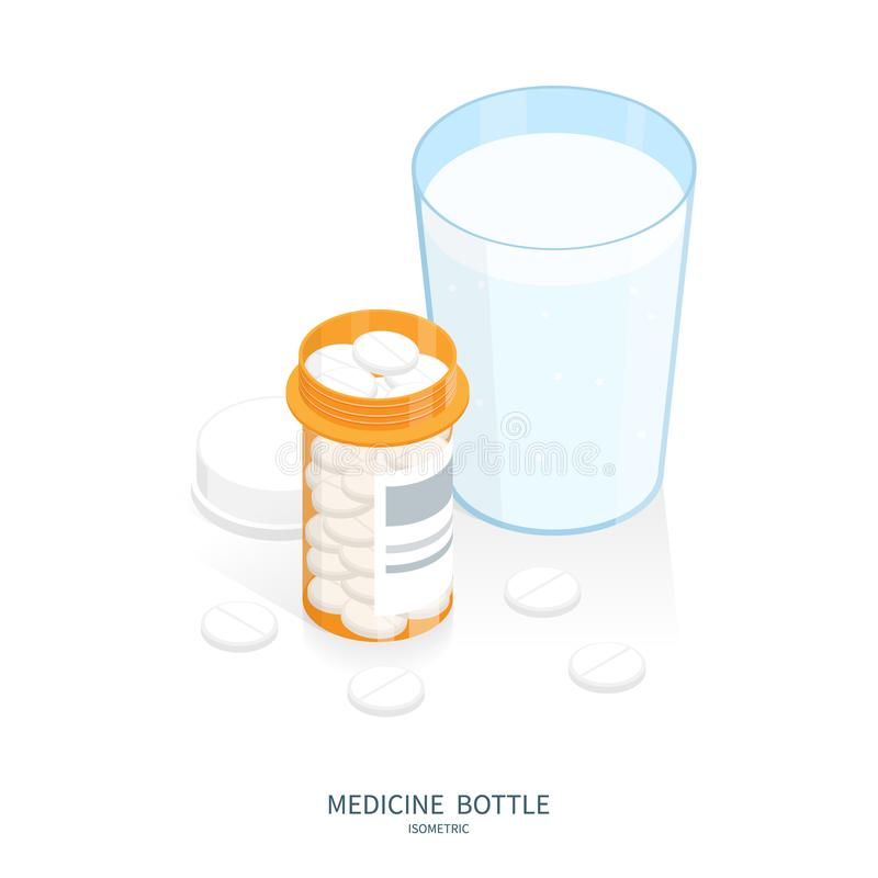Isometric medicine pills bottle, glass of water swallow pills vector illustration