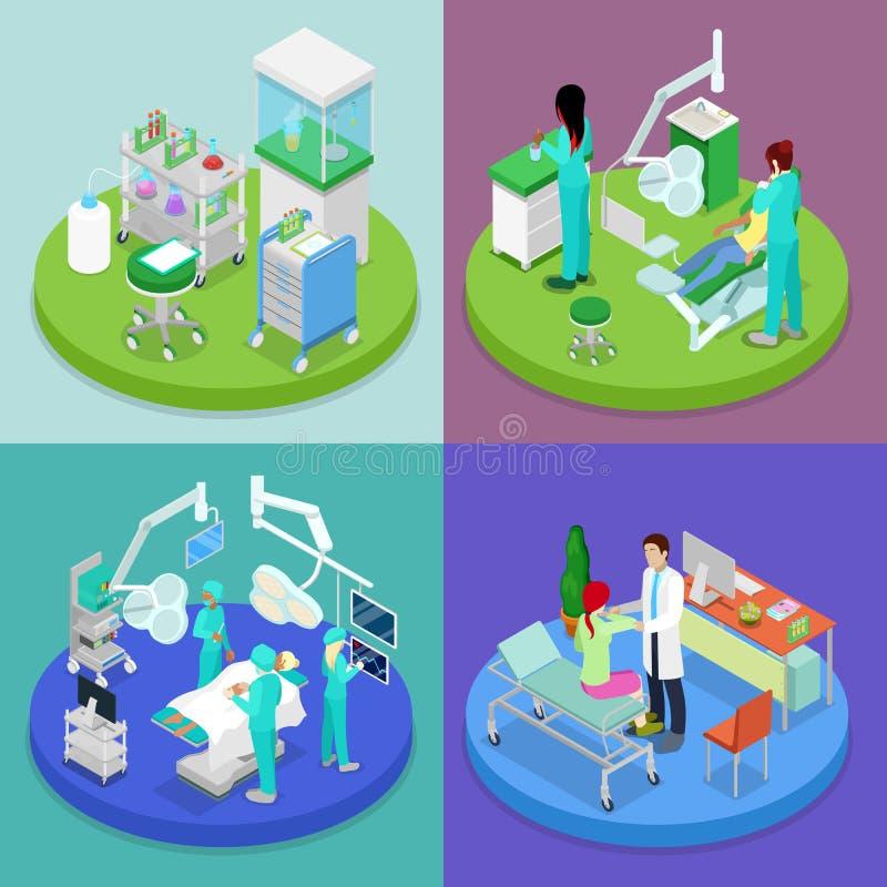Isometric Medyczna klinika tło zamazywał opieki pojęcia twarzy zdrowie maski pigułkę ochronną Szpital, dentysta, sala operacyjna ilustracji