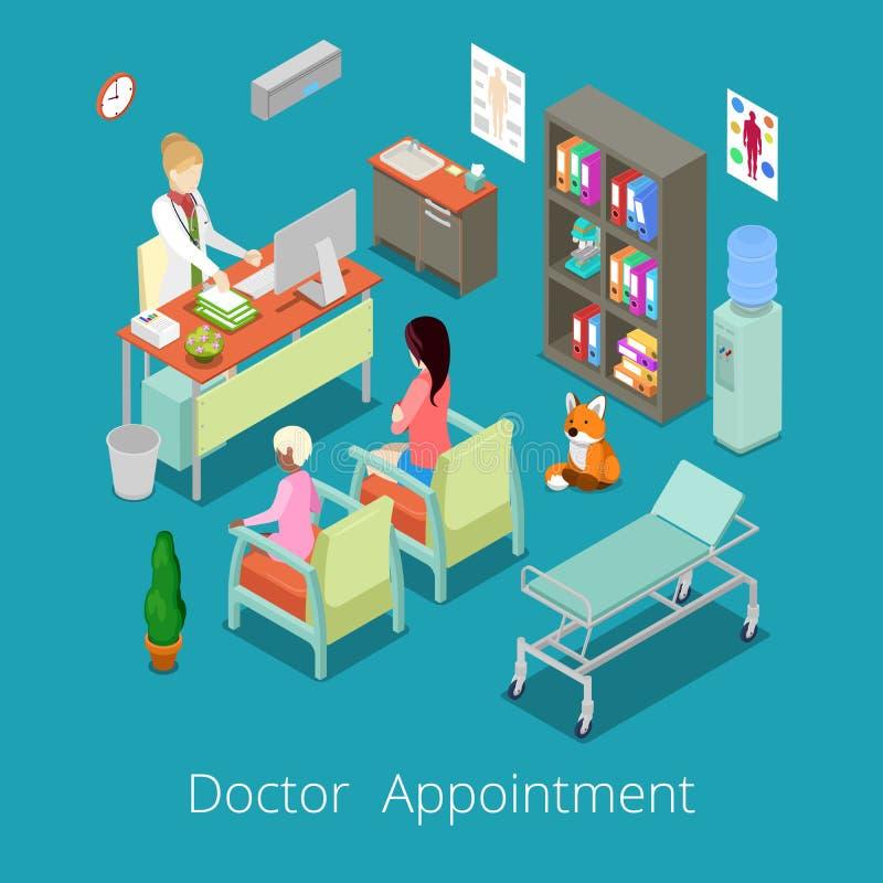 Isometric Medyczny Gabinetowy wnętrze lekarki spotkanie z pacjentem ilustracja wektor