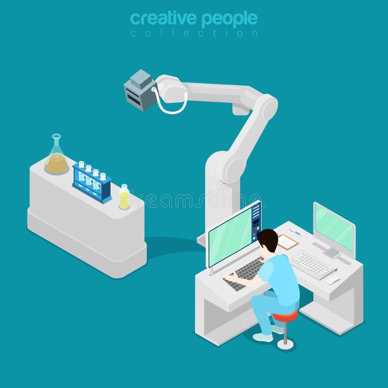 Isometric medyczny szpitalny komputer lekarki mieszkanie 3d royalty ilustracja