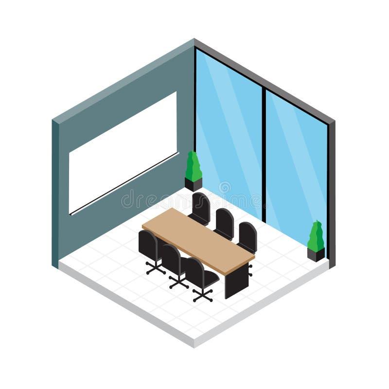 Vector Isometric Rooms Icon Stock Vector: Isometric Meeting Room Vector Design. Stock Vector
