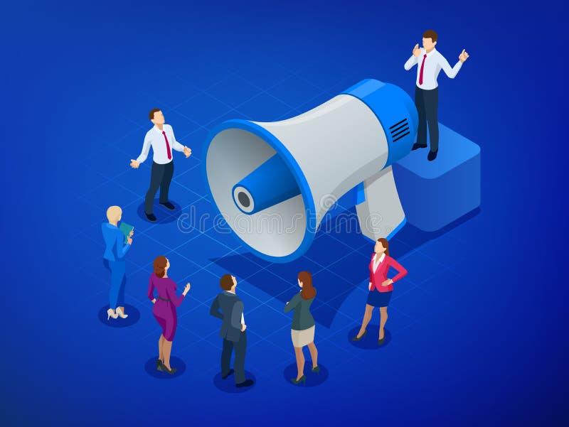 Isometric Megaphone and people. Digital marketing, blog marketing, blog post sharing, social media marketing concept vector illustration