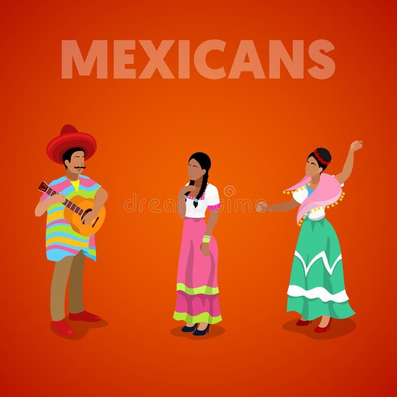 Isometric Meksykańscy ludzie w Tradycyjnym Odziewają ilustracji