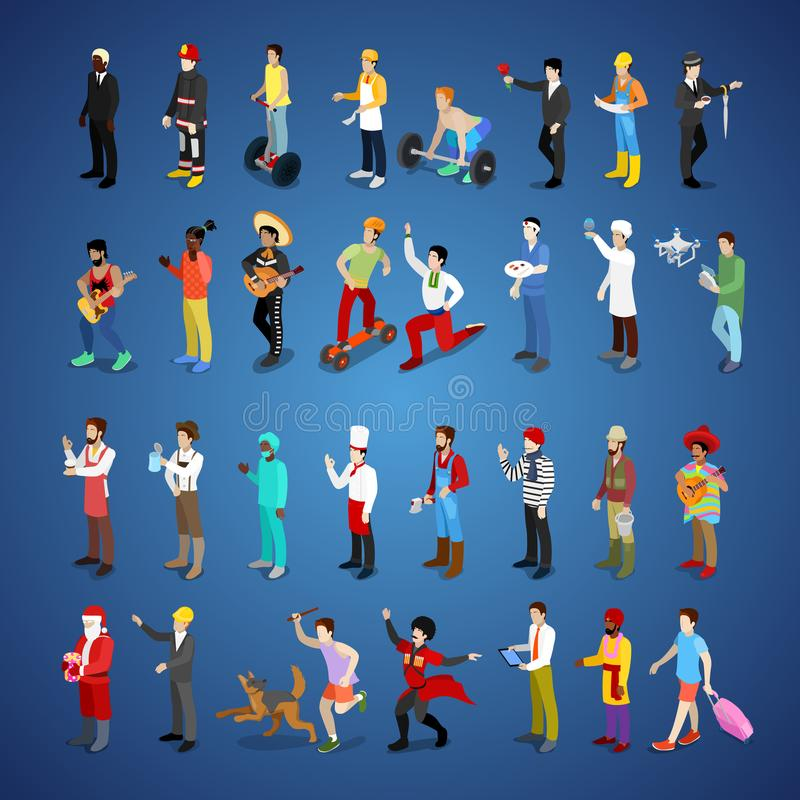 Isometric Men Character Set Different Professions royalty free illustration