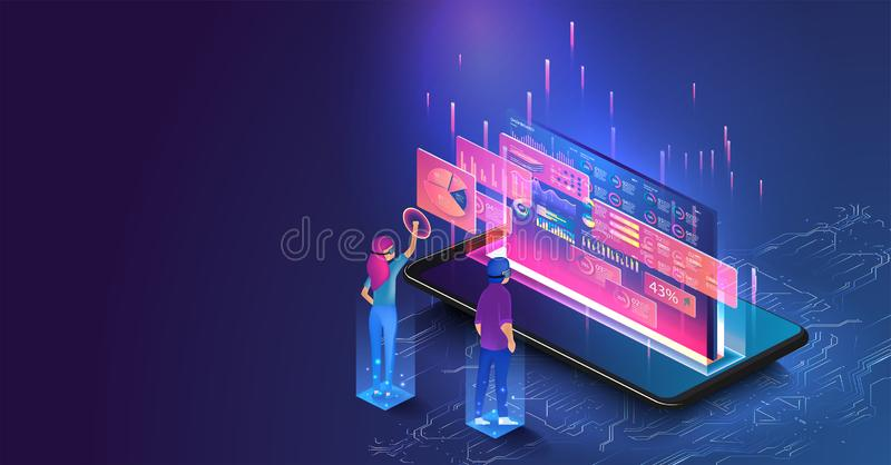 Isometric men and a woman wearing goggle. NIsometric men and a woman wearing goggle headset with touching vr interface. People interacting with analyzing stock illustration