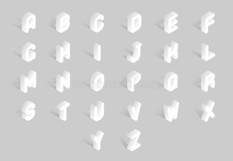 Isometric Miękkiej linii rocznika listu abecadła znaka ABC chrzcielnicy 3d typografii symbolu wektoru Abstrakcjonistyczna Retro i royalty ilustracja