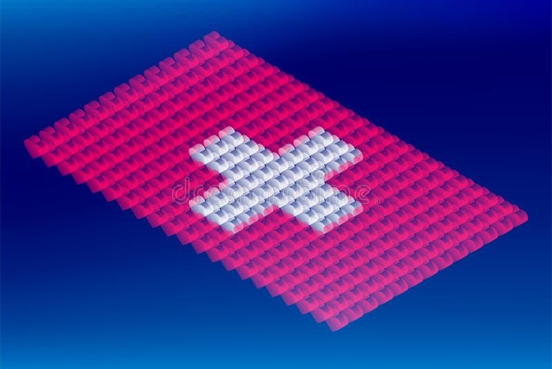 Isometric miłości serca pudełka przezroczystość, Szwajcaria flagi państowowej kształt, Blockchain cryptocurrency pojęcia projekta ilustracji