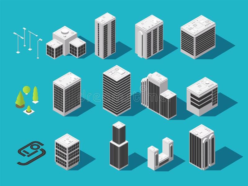 Isometric miasta 3d domy z miastowym elementu wektoru setem i budynek royalty ilustracja