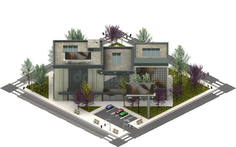 Isometric miasto budynki, luksusowi mieszkania świadczenia 3 d obraz royalty free