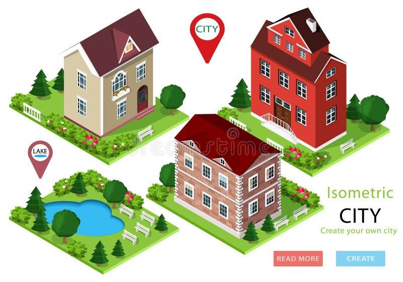 Isometric miasto domy z zielonymi jardami, drzewami, ławkami i parkiem z jeziorem, Set śliczni szczegółowi budynki również zwróci royalty ilustracja