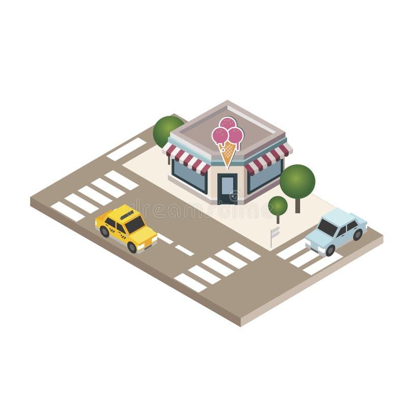 Isometric miasto Kawiarnia lub restauracja Karmowy dostarczać Miasta życie Geo tropić mapa ilustracji