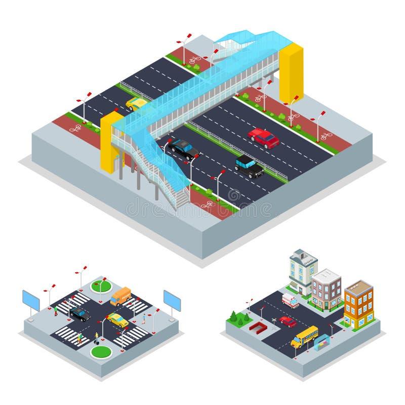 Isometric Miastowa droga z Crosswalk i budynkami Miasto trraffic ilustracji