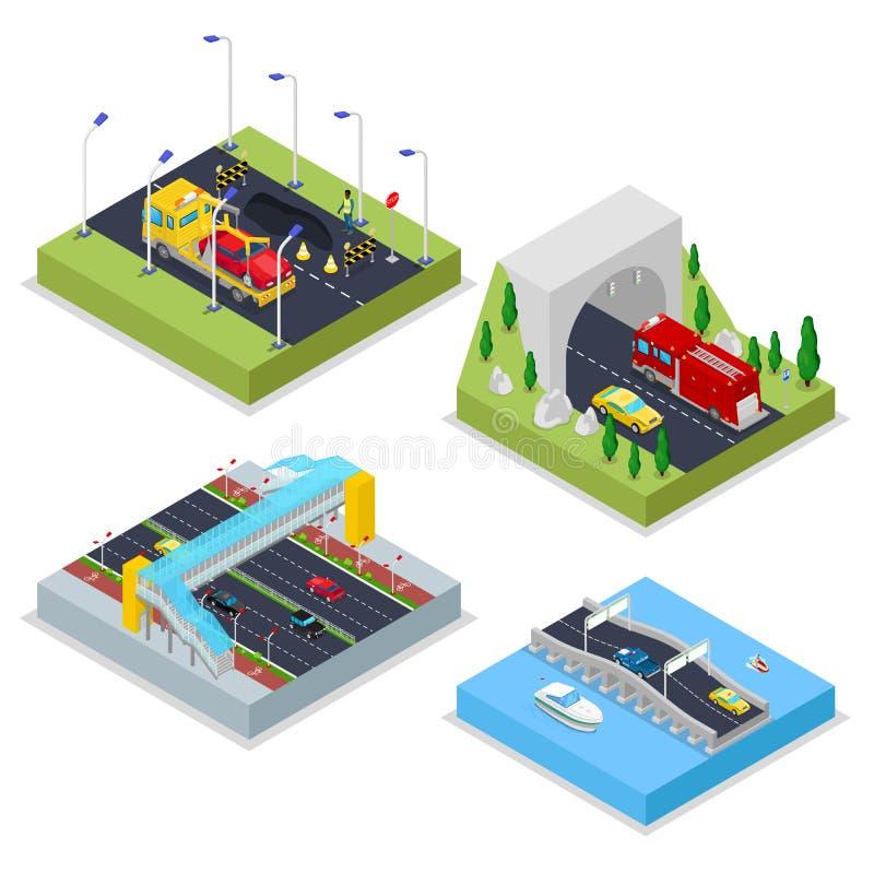 Isometric Miastowa infrastruktura z aleją, tunelem, samochodami i mostem, Miasto trraffic ilustracji