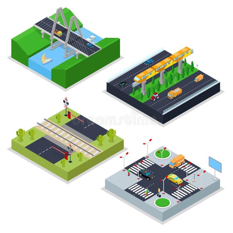 Isometric Miastowe drogi z koleją, rozdrożem, samochodami i mostem, Miasto trraffic ilustracji