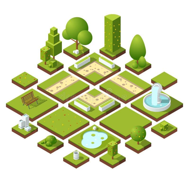 Isometric miastowi elementy i ogrodowa dekoracja Ławki, fontann drzewa i krzaki, abstrakcjonistycznych tła błękitny guzika koloró ilustracja wektor