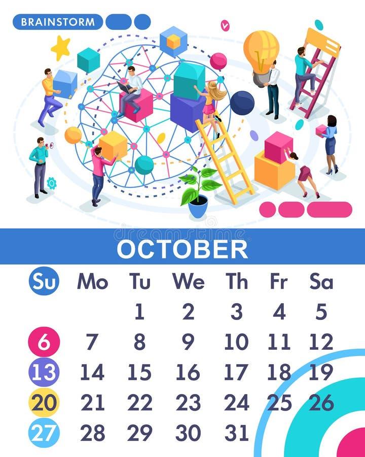 Isometric miesiąc Październik główny kalendarz 2019 Pojęcie brainstorming, pracownicy rozwija strategię biznesową ilustracji