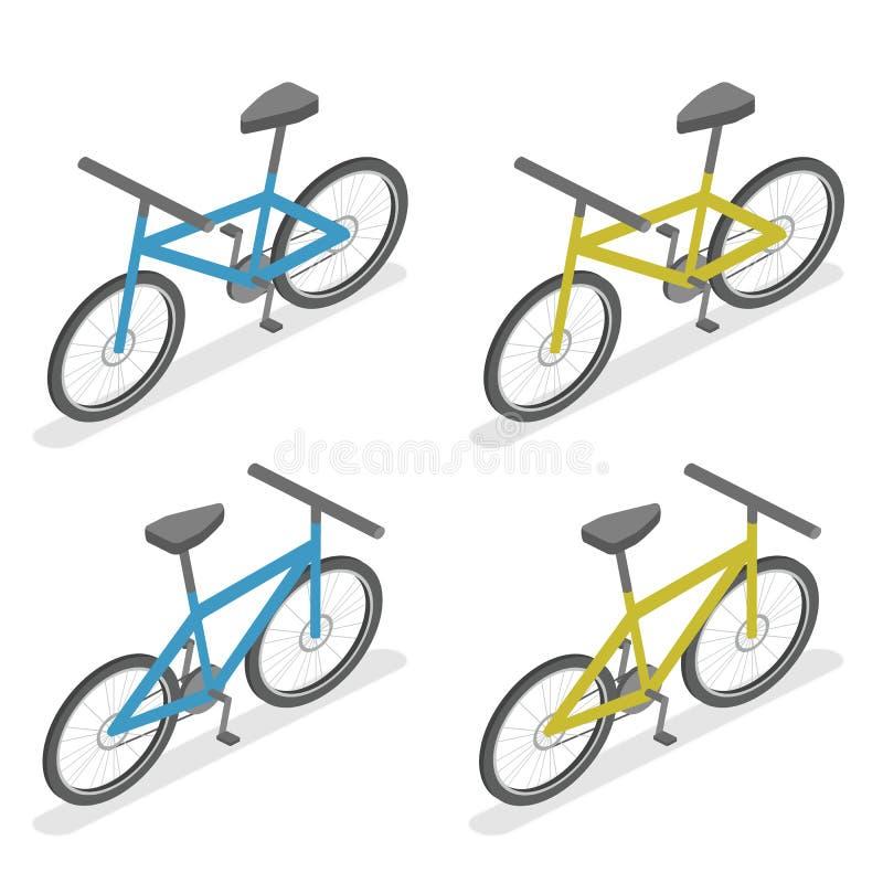 Isometric mieszkania 3D pojęcia odosobniony bicykl ilustracji