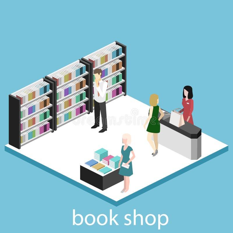 Isometric mieszkania 3D wnętrze książkowy sklep royalty ilustracja