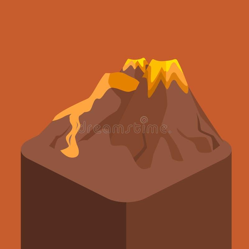 Isometric mieszkania 3D wulkanu magmy natury dmuchanie - up royalty ilustracja