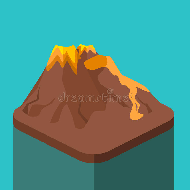 Isometric mieszkania 3D wulkanu magmy natury dmuchanie - up ilustracji