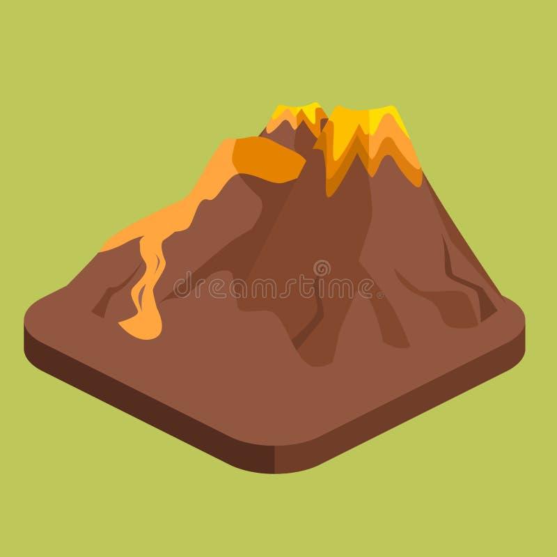 Isometric mieszkania 3D wulkanu magmy natury dmuchanie - up ilustracja wektor
