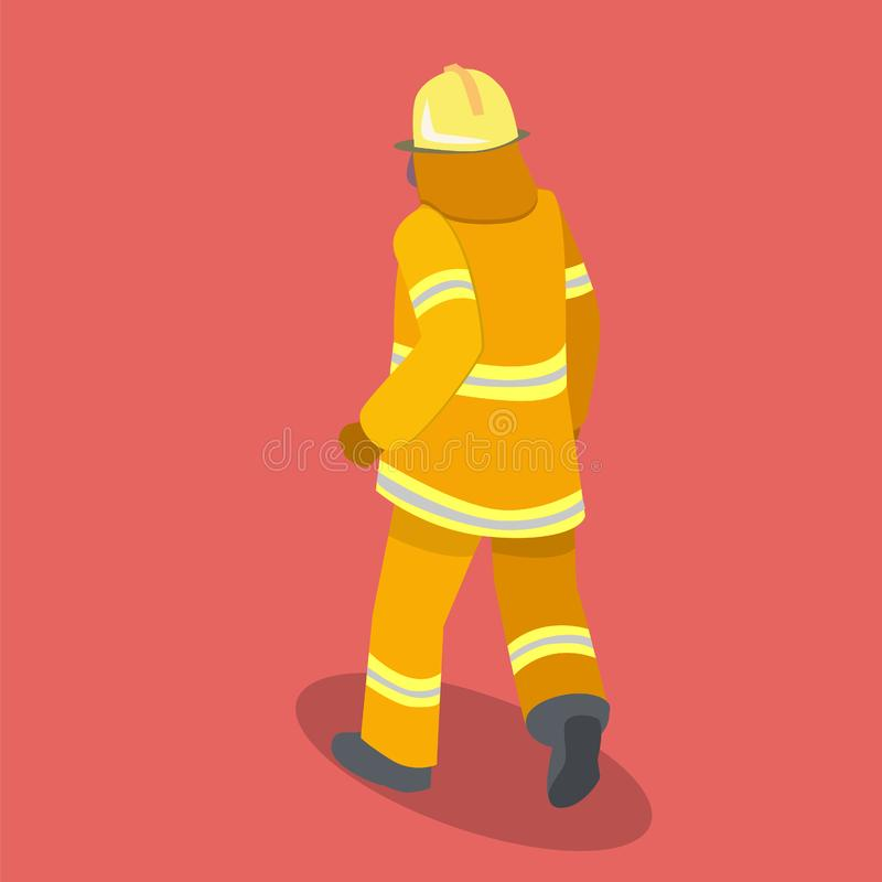 Isometric mieszkanie 3D odizolowywał cutaway strażaków w akci ilustracja wektor