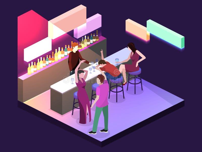 Isometric mieszkanie 3D odizolowywał pojęcia cutaway baru w klubie nocnym royalty ilustracja