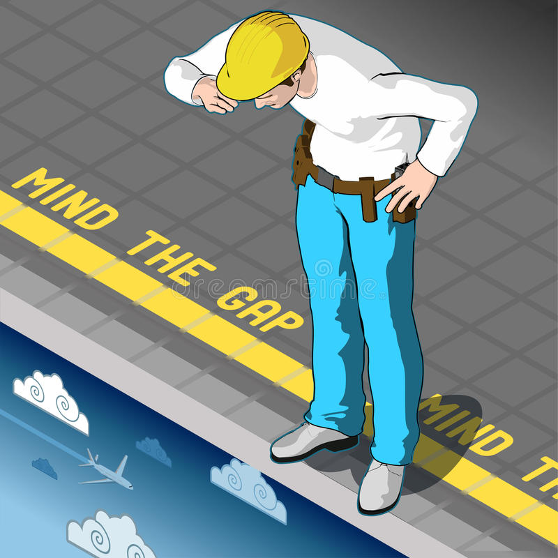 Isometric Mind the Gap. Isometric infographic mind the gap concept. Occupational and economic precariousness 3d vector illustration stock illustration