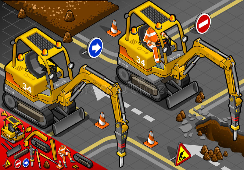 Isometric Mini Chisel Excavator in Front View royalty free illustration
