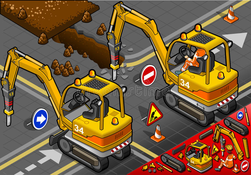 Download Isometric Mini Chisel Excavator In Rear View Stock Vector - Image: 31861687