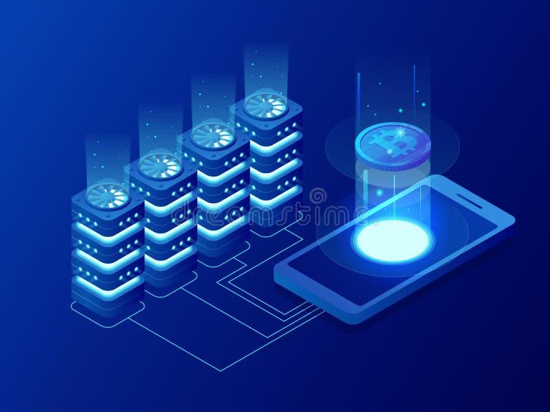Isometric mining Bitcoin farm. Cryptocurrency, blockchain, bitcoin mining concept. Big data processing, server room rack stock illustration