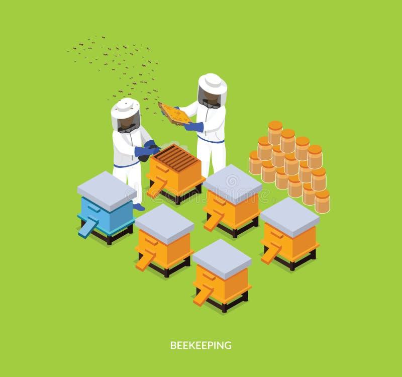Isometric Miodowy pszczoły pasieki pszczelarki projekta mieszkanie ilustracja wektor