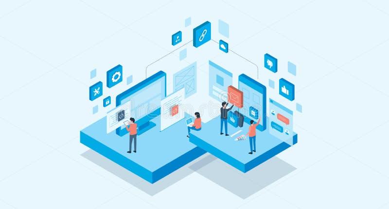 Isometric mobile application and web design development process concept stock illustration