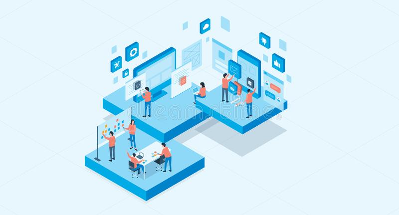 Isometric mobile application and web design development process concept royalty free illustration
