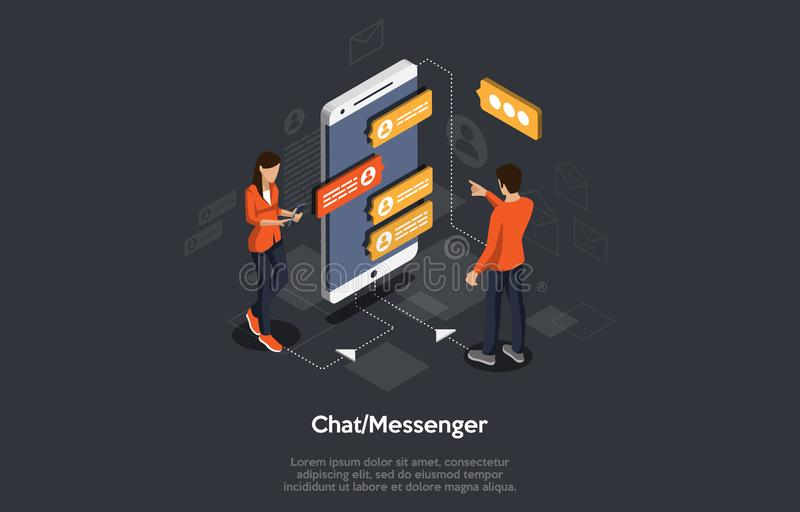 Isometric Mobile chat dialog, messenger concept, mobile phone keyboard, chatbot, support online. royalty free illustration