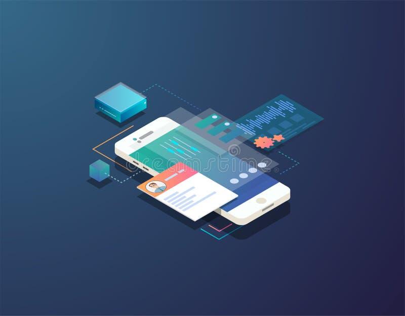 Isometric mobile development illustration vector illustration