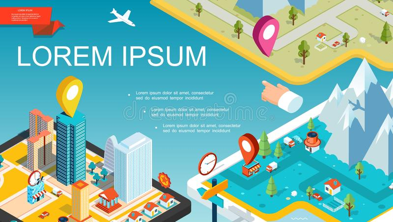 Isometric Mobile Navigation System Concept. With colorful map pointers roads city mountains trees transport vector illustration royalty free illustration