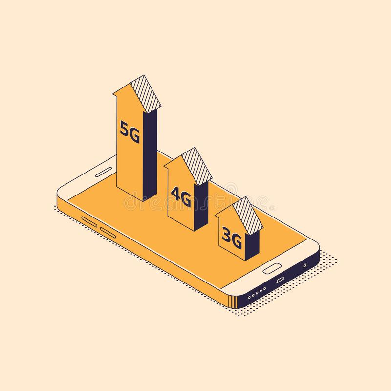 Isometric mobile network technologies concept - smartphone with arrows showing speed of 3G, 4G and 5G. Isometric mobile network technologies concept stock illustration
