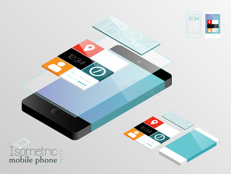 Isometric mobile phones. In black and white with touch screen and application panel, structured and named layers, EPS 10 royalty free illustration