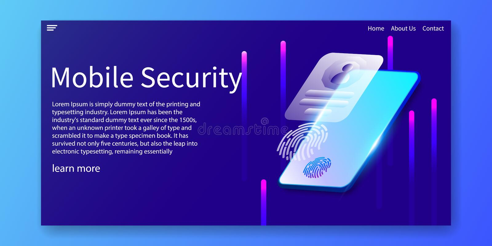 Isometric Mobile Security and Biometrics identification concept, fingerprints, facial recognition, Web template design.vector. Illustration vector illustration